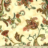 Martinique Paisley Cotton Fabric - Cream