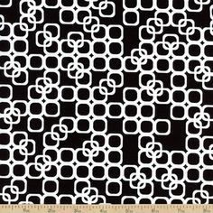 Matrix Square Cotton Fabric - Black