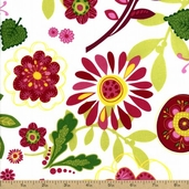 Meadow Melody Cotton Fabric - White Q.1814-68201-137