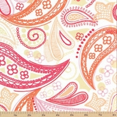 Meet Me at Sunset Cotton Fabric - Doodle Paisley Pink