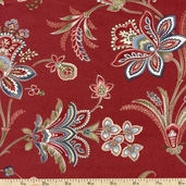 Memories of Provence Floral Cotton Fabric - Regal Red MAS1215-R