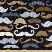 Menswear Cotton Fabric - Mustaches - Black FUN-C1121