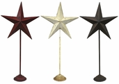 Metal Star Stands 33in Set of 3 - Red, Antique White, and Rustic Brown