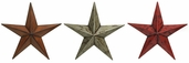 Metal Star Wall Decor 12in Set of 3 - Red / Rustic / Antique Brown