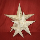 Metal Star Wall Decor Assorted Sizes Set of 3 - Antique White - Clearance