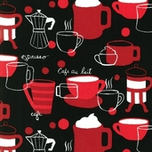 Metro Cafe Cotton Fabric - Black