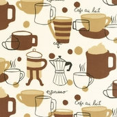 Metro Cafe Cotton Fabric - Cream