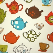 Metro Cafe Cotton Fabric - Vintage