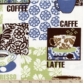 Metro Cafe Cups Cotton Fabric - Espresso AVJ-11235-174 ESPRESSO - CLEARANCE