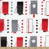 Metro Cafe French Press Cotton Fabric - Licorice