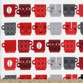 Metro Cafe Mugs Cotton Fabric - Licorice