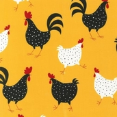 Metro Market Cotton Fabric Chickens - Yellow