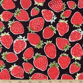 Metro Market Packed Strawberries Cotton Fabric - Black