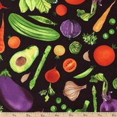 Metro Market Veggie Toss Cotton Fabric - Black