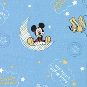 Mickey Good Night Toss Cotton Fabric - Blue
