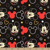 Mickey Head Toss Cotton Fabric - Black