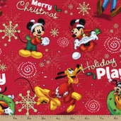 Mickey Holiday Play Cotton Fabric - Red