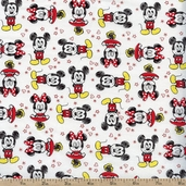Mickey Mouse Friends Cotton Fabric - White
