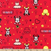 Mickey Mouse Minnie Cotton Fabric - Red
