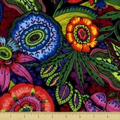 Midnight Gardens Exotic Explosion Cotton Fabric - Clearance