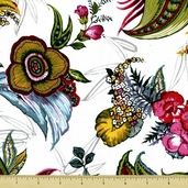 Midnight Gardens Exotic Explosion Cotton Fabric - White - Clearance