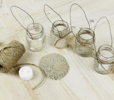 Mini Jute Wrapped Hanging Jars