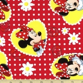 Minnie Polka Dot Daisies Cotton Fabric - Red CP-43443-D6507-15