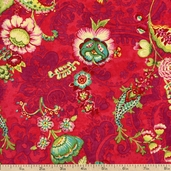 Mirabelle Bouquet Damask Cotton Fabric - Red