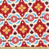 Mission View Cotton Fabric - Terracotta Floral