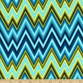 Mixxoni Chevron Cotton Fabric - Turquoise/Lime