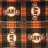 MLB Fleece Giants Plaid Polyester Fabric - Black 6613-B