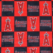 MLB Fleece Los Angeles Angels Check Fabric - Red