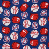 MLB Fleece Philadelphia Phillies Logo Toss Fabric - Blue