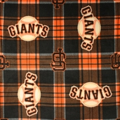 MLB Fleece San Francisco Giants Plaid Fabric - Black