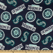 MLB Fleece Seattle Mariners Logo Toss Fabric - Blue
