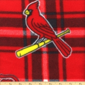 MLB Fleece St. Louis Cardinals Plaid Fabric - Red