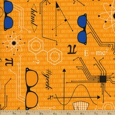 Mod Geek Schematics Cotton Fabric - Retro