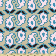 Mod Swirls Cotton Fabric - Blush