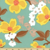 Modern Meadow Large Floral Cotton Fabric - Sunglow