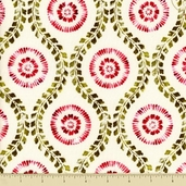 Modern Monet Cotton Fabric - Floral Medallion - Cream