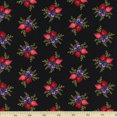 Modern Romance Cotton Fabric - Floral Bunches Cotton Fabric - Black