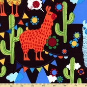 Molly Llama Cotton Fabric Black K4115-4