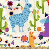 Molly Llama Llamas Cotton Fabric - White K4115-62