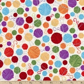 Molly Llama Polka Dot Cotton Fabric - White K4116-3-WHITE