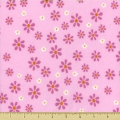 Mommy and Me Daisy Flannel Cotton Fabric Pink