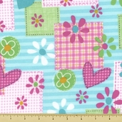 Mommy and Me Patch Flannel Cotton Fabric - Aqua