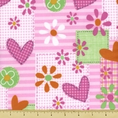 Mommy and Me Patch Flannel Cotton Fabric Pink