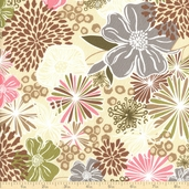 Mon Sheri Floral Cotton Fabric - Linen