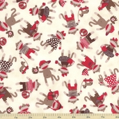 Monkey Around Tossed Toys Cotton Fabric - Cream 22451-E