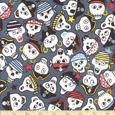 Monkey's Bizness Ahoy! Coton Fabric - Slate